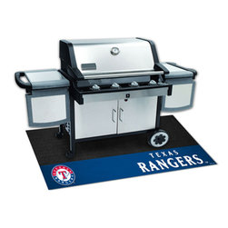 Fan Mats - MLB Texas Rangers Grill Rectangular: 3 Ft. 5 In. x 2 Ft. 1 In. Mat - - Protect your deck or patio while displaying your favorite team! These 100% Vinyl Grill Mats are a universal fit to most grills, prevents spills from soaking in and staining, and cleans up easily with a garden hose. Fan Mats - 12171