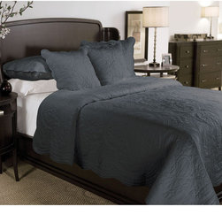 None - Brisbane 3-piece Quilt Set - Add a classic touch to your bedroom with this quilt set. A geometric embroidery highlights this lovely set of two shams and a quilt.