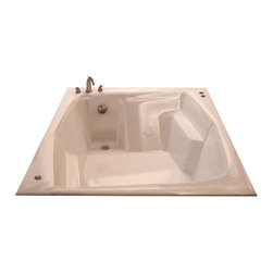 Spa World Corp - Atlantis Tubs 5472C Caresse 54x72x23 Inch Rectangular Soaking Bathtub - The Caresse bathtubs come equipped with ergonomically-molded seating space for two adults. Comfortable armrests located on both sides of the Caresseseries bathtub provide luxury and comfort. An offset angle opening design creates an intimate setting, which will compliment both modern and classic bathroom styles.  Soaking bathtubs are a more traditional style bath tub without water or air systems.  Soaking in warm water will sooth the body, boost cardiac output, lower blood pressure and improve circulation.  Water also hydrates the skin and helps pores eliminate toxins.  Drop-In tubs have a finished rim designed to drop into a deck or custom surround.  They can be installed in a variety of ways like corners, peninsulas, islands, recesses or sunk into the floor.  A drop in bath is supported from below and has a self rimming edge that is designed to sit over a frame topped with a tile or other water resistant material.  The trim is featured in white to color match the tub.