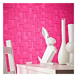 Graham & Brown - Checker Wallpaper - We have given geometric wallpaper shock of hot pink and a more subdued neutral putty. Firm favourites remain in monochrome black, white and soft cream wallpaper.