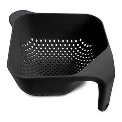 Joseph Joseph - Joseph Joseph Square Colander Large, Black - This ergonomically designed colander has several unique features. Firstly, the single vertical handle ensures it remains upright and stable whilst rinsing and draining and leaves one hand free for operating the tap. Secondly, its square shape fits perfectly into the sink and makes serving rinsed food easier. Lastly, the large vertical holes allow liquids to drain away quickly. Available in green, black, red, and white.
