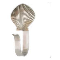 "Scallop Shell Robe Hooks - Scallop Shell Robe Hooks  feature a Peter Costello designed  pewter cabinet knob mounted on a decorative aluminum hook. Hook measures approximately 5"" tall by 3/4"" wide, opening diameter is 1.5"" in , mounting hardware included. Shown in brushed nickel finish, also available in custom powder coat colors and chrome, mounting hardware included."
