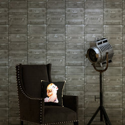 Kathy Kuo Designs - British Industrial Stacked Luggage Wallpaper - Gunmetal - Hey, everybody's got baggage, but only a select few — including you, perhaps — are stylish enough to deck the walls with this covering. Richly textured and detailed, the coated paper makes a handsome, novel background for your favorite setting.
