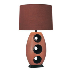 Ambience - Ambience AM 10191  Style Table Lamp with 3-Way Switch, Finished in Fire Orange a - Ambience AM 10191 Art Deco / Retro Style Table Lamp with 3-Way Switch, Finished in Fire Orange and ChocolateAmbience AM 10191 Features: