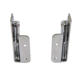 """POJJO Inc. - Tip Out Sink Front 90 Degree Pivot Hinge - The HG90 is designed to open 90 degrees and install efficiently on 3/4"""" wood. Constructed with 2mm thick steel (chrome plated), this hinge is very durable. Unlike 45 degree tip out hinges this pair will not break when pressure or use is a factor. Its scissor design causes the door to pull up and out, thereby also working with inset doors. The HG90 is an elegant and hidden hinge ideal for a laundry hamper, cedar chest, or simply turning a vertical drawer face horizontal."""