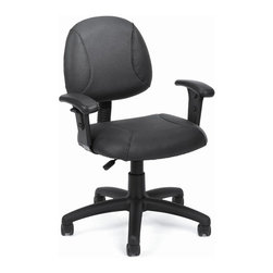 BOSS Chair - Desk Chair In Black w Adjustable Height, Arms - Back height and depth are fully adjustable. Beautifully upholstered in LeatherPlus. LeatherPlus is leather that has been infused with polyurethane for added softness and durability. Thick padded seat and back with built-in lumbar support. Waterfall seat reduces stress to your legs. Pneumatic seat height adjustment. 5 star nylon base allows smooth movement and stability. Hooded double wheel casters. Adjustable arms. Cushion color: Black. Base/wood: Black. Seat size: 19.5 in. W x 16 in. D. Seat height: 19 in. -24 in. H. Arm height: 24.5-32.5 in. H. Overall dimension: 25 in. W x 25 in. D x 34.5-39.5 in. H. Weight capacity: 250 lbs