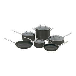 Cuisinart - Cuisinart Chef's Classic Non-Stick Hard Anodized 10-Piece Cookware Set - Hard anodized exterior is dense, nonporous and highly wear-resistant for extra durability