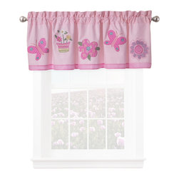 Pem America - Annas Dream Valance - Anna's Dream quilt features pink and purple with all the little touches like scalloped edges, embroidered flowers, butterflies and lady bugs.  The quilt is 100% cotton face with pieced fabrics and embroidered icons. Valance measures 18 inches high by 70 inches wide with 3 inch rod pocket. 100% cotton face material. Machine wash cold/gentle, do not bleach, tumble dry low.