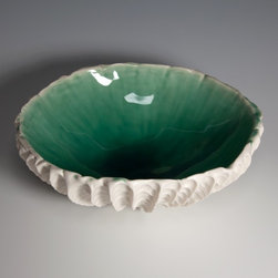 Small Scallop Bowl Copper Blue by elementclaystudio - This gorgeous porcelain bowl was inspired by the sea. It works tipped upside down to give your display an interesing shape and to show off all of the texture, however, when right-side-up, the gorgeous glaze and color of the inside will stun you. I collect Heather Knight's work myself and I cannot get enough!