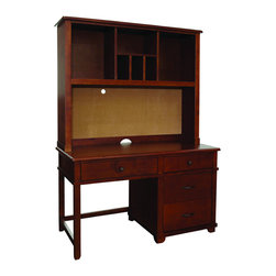 Alaterre - Woodridge Pedestal Desk and Hutch Set - The Woodridge pedistal desk provides ample workspace space with four drawers to keep you organized. The hutch provides storage with a single shelf,three cubbyholes and a cork board. Finished in warm chestnut,this ensemble offers transitional style.