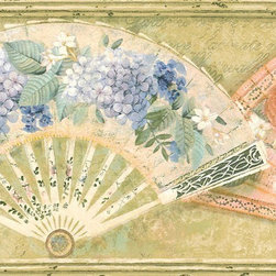 York Wallcoverings - Gold Fans and Flowers Wallpaper Border - Wallpaper borders bring color, character and detail to a room with exciting new look for your walls - easier and quicker than ever.