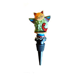 Metal Cat Stopper - Nothing is as purrfect as this adorable bottle stopper for keeping your wine from oxidizing. The colorful cat perched on top seems content as it keeps a watchful eye on your chardonnay.