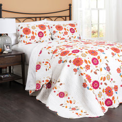 Lush Decor - Lush Decor Massa 3-piece Floral Quilt Set - A bright pink and orange floral patterns adds bold color to a white ground in this darling 3-piece Massa quilt set. Crafted with pure cotton for comfort,this contemporary bedding and sham set is fully machine washable.