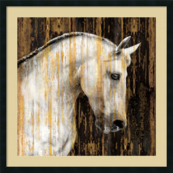 Amanti Art - Martin Rose 'Horse II' Framed Art Print 34 x 34-inch - To quote Sharon Ralls Lemon \'the essential joy of being with horses is that it brings us in contact with the rare elements of grace, beauty, spirit, and fire.\' Bring your love of all things equestrian to your decor with this handsome portrait, Horse II by Martin Rose.
