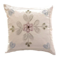 """Decorative Pillow Covers - Unique """"Hand Painted"""" Pillow Cover. Snow White color (Set of 2). Exclusive Indian pillow cover."""