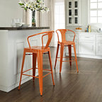 Crosley Furniture - Amelia Metal Cafe Barstool with Back in Orang - Includes (2) Stools. Sturdy Steel Construction. Easy To Assemble. UV Resistant. Stackable. . Powdercoated Finish. 20 in. W x 23 in. D x 44 in. H