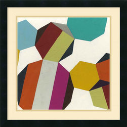 Amanti Art - June Erica Vess 'Poly-Rhythmic IV' Framed Art Print 22 x 22-inch - Poly-Rhythmic IV by June Erica Vess features geometric patterns bursting with dynamic color and life, making a great tonic for refreshing your decor space.