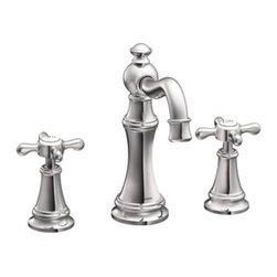 Moen - Moen TS42114 Chrome Weymouth Double Handle Widespread Bathroom Faucet - Product Features:  Metal faucet body construction ensures durability and reliability for the life of the faucet Covered under Moen s limited lifetime faucet warranty Premier finishing process - finishes will resist corrosion and tarnishing through everyday use A sense of uncommon luxury is brought forth in the Weymouth Collection With its elegant, traditional design details and distinctive finishing touches Weymouth is sure to bring warmth to any home Double handle operation - handles rest on 1/4 turn valves ADA compliant - complies with the standards set forth by the Americans with Disabilities Act for bathroom faucets Low lead compliant - meeting federal and state regulations for lead content WaterSense certified product - using at least 30% less water than standard 2.2 GPM faucets, while still meeting strict performance guide lines Required valve system sold separately Designed for use with standard US plumbing connections All hardware needed for mounting is included with faucet  Product Technologies / Benefits:  M-PACT Common Valve System: This innovation from Moen gives the homeowner the up-most functionality and convenience when it comes to bathroom faucets. Designed to be a catch-all valve system, once M-PACT is installed you can upgrade the style of the lavatory or shower faucet without replacing nay of the faucet plumbing. WaterSense/Eco-Performance: To help make a difference on a global scale and further its role as industry leaders in eco-performance practices, Moen has established partnerships with a number of environmental organizations, including WaterSense. As of January 2009 all Moen bathroom faucets feature flow optimizing aerators; meaning they use less water, without sacrificing product performance.
