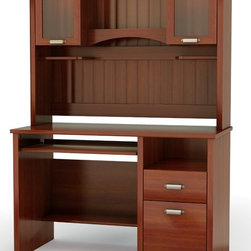South Shore - Small Desk w Hutch in Cherry Finish - Gascony - Great for students as well as the home office, this handsome Gascony collection desk with hutch is incredibly affordable.  Contemporary style computer set features pull-out keyboard tray, cord management top with plenty of open and closed storage to keep you organized. Manufactured from eco-friendly, EPP-compliant laminated particle boardcarrying the Forest Stewardship Council (FSC) certification. Perfect addition to your workplace. Assembly Required. Desk: 24 in. W x 48 in. D x 31 in. H . Hutch: 13 in. W x 49 in. D x 36 in. H