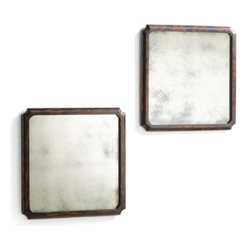 "Grandin Road - Set of Two Logrono Antique Wall Mirrors - Distinctive antiquing provides an added level of dimension and character average alternatives simply can't provide. Aged mirror is bounded by a heavily distressed, black, blended wood frame with rich walnut undertones. Thoughtful, notched corner detail adds a designer's touch. Arrives ready to hang as shown, or in a ""diamond"" orientation. Why wait years, when our Antiqued Logrono Mirrors allow you to enjoy a well-loved appearance from the very first day?. . . ."