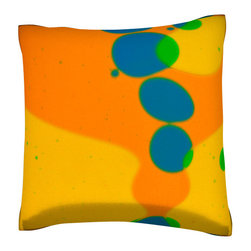 Custom Photo Factory - Colorful Liquid Bubbles Polyester-Velour Throw Pillow - Colorful Liquid Bubbles Pillow. 18 Inches x 18  Inches.  Made in Los Angeles, CA, Set includes: One (1) pillow. Pattern: Full color dye sublimation art print. Cover closure: Concealed zipper. Cover materials: 100-percent polyester velour. Fill materials: Non-allergenic 100-percent polyester. Pillow shape: Square. Dimensions: 18.45 inches wide x 18.45 inches long. Care instructions: Machine washable