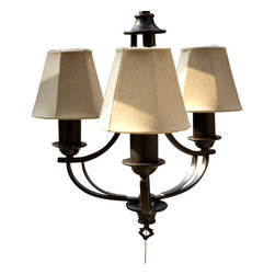 Kenroy - Kenroy 31367ORB Belmont Outdoor Transitional Chandelier - Oil Rubbed Bronze and a two-candle shape suggest colonial, while a Leaf-Print or Taupe shade reads casual.  The combination is elegant.  *For Outdoor Use *Two Shade Fabrics Included with Each Lamp for Two Distinctive Looks *UL Rated for Wet Location