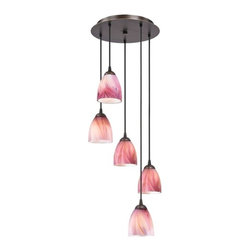 Design Classics Lighting - Bronze Multi-Light Pendant Light with Pink Art Glass - 580-220 GL1004MB - Modern multi-light pendant with five modern bell pink art glass shades in a Neuvelle bronze finish. Includes one bronze five-port ceiling canopy. Each mini-pendant comes with 7-feet of black cuttable cord that allows for custom height adjustability for each pendant. Takes (5) 100-watt incandescent A19 bulb(s). Bulb(s) sold separately. UL listed. Dry location rated.