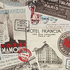 Retro travel fabric vintage postcard posters Italy France, Standard Cut - A retro travel fabric with vintage postcards and posters. A vintage postcard and poster fabric with a vintage retro look.