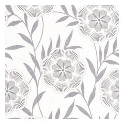 Graham & Brown - Flora Grey Wallpaper - Spira flower heads with perfectly crafted texture detailing. Glitter highlights enhance this striking floral trail. Sits with Harlow stripe.