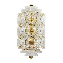 Lalique - Lalique Seville Wall Sconce Small Gilded - Lalique Seville Wall Sconce Small Gilded 1001699  -  Size: 4.92 Inches Long x 7.67 Inches Wide x 14.96 Inches Tall  -  Genuine Lalique Crystal  -  Fully Authorized U.S. Lalique Crystal Dealer  -  Created by the Lost Wax Technique  -  No Two Lalique Pieces Are Exactly the Same  -  Brand New in the Original Lalique Box  -  Every Lalique Piece is Signed by Hand, a Sign of its Authenticity and Quality  -  Created in Wingen on Moder-France  -  Lalique Crystal UPC Number: 090592100165