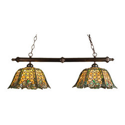 """Meyda Tiffany - 39""""L Duffner & Kimberly Shell & Diamond 2 Lt Island Pendant - Duffner & Kimberly was a prolific studio specializing in copper foil construction. This beautiful Stained-glass shade in Honey Amber, with a beautifully executed Jade glass pattern, is inspired by European architecture. This Tiffany style shade is matched with Mahogany Bronze finished 2 light island hardware."""