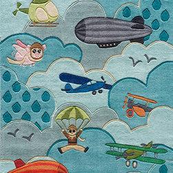 Momeni - Kids Rug Aviator Sky Design Momeni Lil Mo Collection - Hand-Tufted