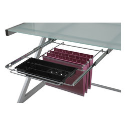 Euro Style - Hanging File & Pencil Tray - Aluminum - Talk about an upgrade! Many desks have nowhere to put a pencil let alone hanging folders. This smart add-on has a convenient tray for office basics as well as rails for hanging folders. Now your desk works like a desk!