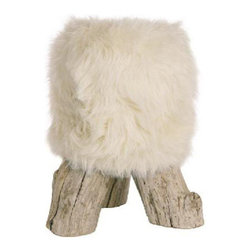 EcoFirstArt - Stool Mousse - It's a stool, it's a furry character, a muff with feet … it's a terrific usable object for your mountain cabin or urban abode. Crafted from driftwood and faux fur, this ecofriendly, fun footstool will keep your tootsies warm and your belly full of giggles.