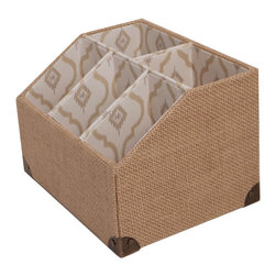 Enchante Accessories Inc - Raymond Waites Burlap Letter Sorter - Home Office Desk Top Designer Organizer CollectionPrinted Fabric with Decorative DesignsTextured Fabric Base Part of the Raymond Waites Home & Design CollectionUse as a table top organizer or in draw sectional trayThe Raymond Waites Collection of home office organizers featuredesigner printed fabrics and is perfect decorative organizer to hold your paperwork and office supplies. Use in your home office to keep your desk in order.