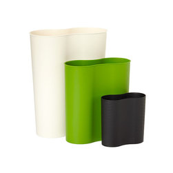 Eco Cocoon Trash Cans - Our Eco Cocoon Trash Bins are sturdy but pliable, thanks to recycled content, and their elliptical design is easy on the eyes. They are available in multiple sizes to cover any need, from offices to bathrooms to countertops. Since they're tolerant of environmental extremes such as heat, cold and moisture, they're also suited to outdoor use.