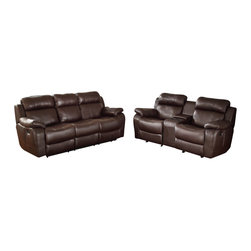 Homelegance - Homelegance Marille 2-Piece Reclining Living Room Set in Brown Leather - With either the extended stretch of the reclining sofa or soothing rock of the reclining chair, your comfort is taken care of in the Marille collection. Drop-down cup holders add additional function to the collection. The set is covered in a warm brown polished microfiber, brown bonded leather match or black bonded leather match.
