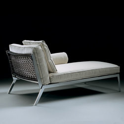 Flexform - Flexform Happy Chaise Longue - Chaise longue with frame in nickel-satined or chromed metal. Seat in metal covered with leather. Backrest in metal frame and woven leather cord available in many colors. Seat cushions and backrest cushions are dacron wrapped in down. Bolster cushions are down-filled and made stable by a metal insert. Manufactured by Flexform in Italy. Price includes shipping to the USA.Designed in 2005.