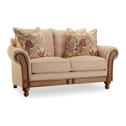 """Hooker Furniture - Windward Dart Honey Loveseat - White glove, in-home delivery included!  Relaxing with Windward offers a laid back lifestyle wherever the locale.  Windward offers a mellow light brown finish and is crafted using hardwood solids and cherry veneers with raffia accents.  Fabric: Dart Honey.  Two 23"""" Pillows in Fabric: Elvira Red."""