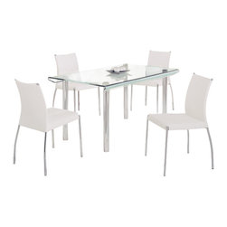 Global Furniture USA - DA818L-DT + DB841DC-WH Glass & White Leatherette Five Piece Dining Set - The DA818L-DT + DB841 dining set works well with any decor and will add a touch of modern design. This table features a rectangular clear glass top with a frosted strip accent down the middle. A unique curved design of the glass top along the edges adds to the contemporary look. The table has a traditional four leg metal design that come in a  chrome finish. The dining chairs come upholstered in a beautiful white leatherette material.