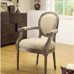 Oxford Beige Linen Armchair - There's a pair of oval-back French chairs at one end of Mary McDonald's living room. I found these reproduction chairs, and I think you will love the price and the look.