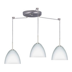 Besa Lighting - Besa Lighting 3BC-757207-LED Sasha II 3 Light LED Cord-Hung Mini Pendant - Sasha II has a classical bell shape that complements aesthetic, while also built for optimal illumination. Our Opal glass is a soft white cased glass that can suit any classic or modern decor. Opal has a very tranquil glow that is pleasing in appearance. The smooth satin finish on the clear outer layer is a result of an extensive etching process. This blown glass is handcrafted by a skilled artisan, utilizing century-old techniques passed down from generation to generation. The cord pendant fixture is equipped with three (3) 10' SVT cordsets and a 3-light round canopy, three (3) suspension stemhooks included.Features:
