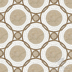 Baby Venus Stone Mosaic - Baby Venus, a natural stone waterjet and hand cut mosaic, is shown in Botticino, Thassos and Travertine White.