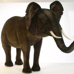 Hansa Portraits in Nature Realistic Stuffed Animals - Not only is this Hansa Extra Large Ride-on Elephant realistic looking, you can ride on him too!  This Elephant can hold up to 150 pounds. Hansa Extra Large Ride On Elephant is handcrafted from plush. Airbrushed for detail.