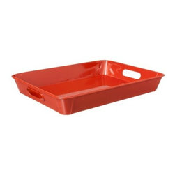 Threshold Metal Decorative Tray, Coral - I love that this tray is metal! The shiny finish will help other bold accent items stand out on an ottoman or coffee table.