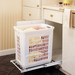Rev-A-Shelf - Rev-A-Shelf RHRV-1520S Pull-Out Wire Hamper - White - RHRV-1520S - Shop for Closet from Hayneedle.com! About Rev-A-ShelfRev-A-Shelf a Jeffersontown Kentucky-based company has been dedicated to the creation of innovative useful residential cabinet storage and organization products since 1978. The company manufactures a wide variety of functional products such as lazy susans kitchen drawer organizers and childproof locking systems. A global market leader Rev-A-Shelf is known for its superior quality and versatility.