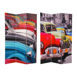 Oriental Furniture - 6 ft. Tall Double Sided Colorful Cars Room Divider - An attractive and uniquely stylish floor screen, with wonderful, vivid, vintage automobile photographs, blown up to six feet tall on both the front and back side. On the front: classic 40s and 50s American autos; on the backside, distinctive, colorful European designs. Bright beautiful industrial art icons from by gone eras, a creative, intriguing way to introduce bold, bright color and interesting shapes and design elements into the decor of any room, home or office.
