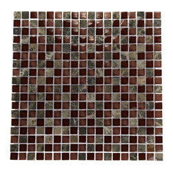 """GlassTileStore - Bourbon Blend 1/2"""" X 1/2"""" Marble & Glass Mosaics - BOURBON BLEND 1/2"""" X 1/2"""" GLASS TILES  This polished glass creates a striking design. Great to install in a kitchen back splash, bathrooms, and any decorated spot in your home. The mesh backing not only simplifies installation, it also allows the tiles to be separated which adds to their design flexibility.      Chip Size: Squares 1/2"""" x 1/2""""    Color: Dark Emperidor, Rose and Wine   Material: Emperidor and Glass   Finish: Polished    Sold by the Sheet - each sheet measures 12"""" x 12"""" (1 sq. ft.)   Thickness: 8mm           - Glass Tile -"""