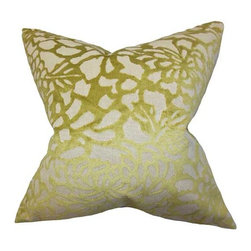 The Pillow Collection - Mailys Gold 18 x 18 Floral Throw Pillow - - Pillows have hidden zippers for easy removal and cleaning  - Reversible pillow with same fabric on both sides  - Comes standard with a 5/95 feather blend pillow insert  - All four sides have a clean knife-edge finish  - Pillow insert is 19 x 19 to ensure a tight and generous fit  - Cover and insert made in the USA  - Spot clean and Dry cleaning recommended  - Fill Material: 5/95 down feather blend The Pillow Collection - P18-MVT-1219