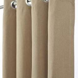 """Home Decorators Collection - Outdoor Curtain Panel - Available in a variety of durable, all-weather fabrics, our Outdoor Curtain Panel will complete your porch or patio summer paradise. Choose from a variety of stylish designs in Sunbrella®, Outdura® or polyester fabric. Sunbrella® and Outdura® are 100% solution-dyed acrylics. All our fabric options are resistant to UV rays, stains and mildew for long life and lasting color. Resists UV rays, stains, mold and mildew. Rust-proof aluminum grommets. 50""""W in three lengths."""